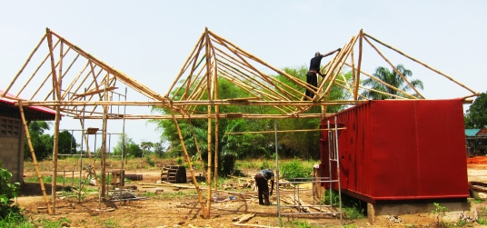Construction Underway on Bamboo Workshop Shed